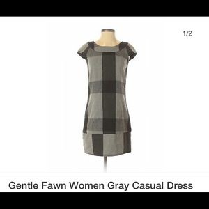 Gentle Fawn Gray and Black Plaid Dress for Fall